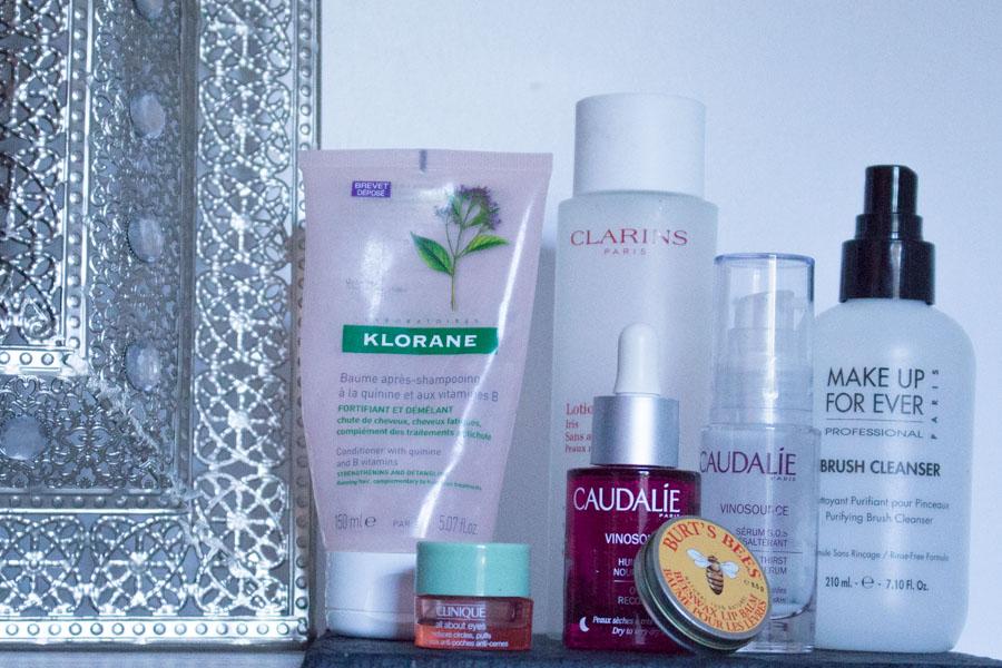 Mes produits terminés : Clarins, Clinique, Make Up For Ever, Klorane, Burt's Bees et Caudalie.